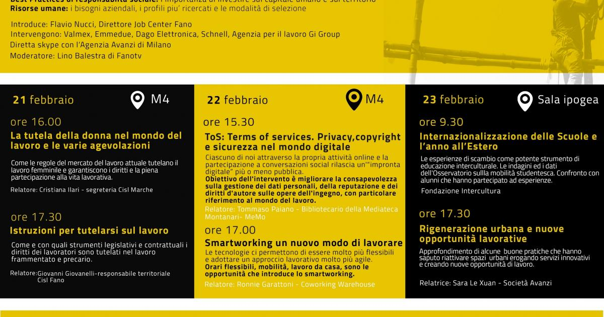 Agenzia Lavoro All Estero : Incursioni nel mondo del lavoro a fano cinque giorni di incontri