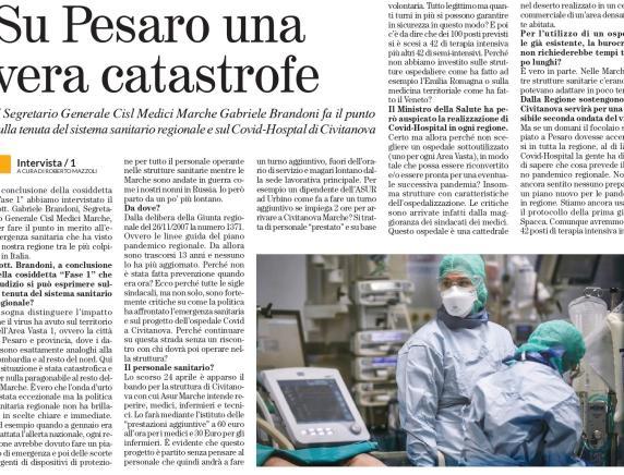 "Cisl Medici: ""Su Pesaro si è abbattuta una catastrofe"""