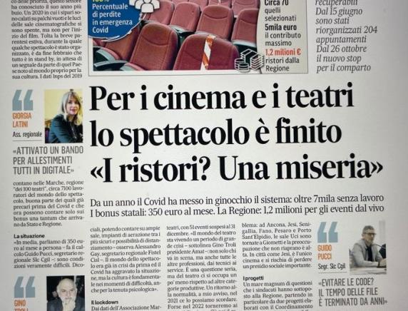 Cinema e teatri: oltre 7 mila persone senza lavoro nelle Marche