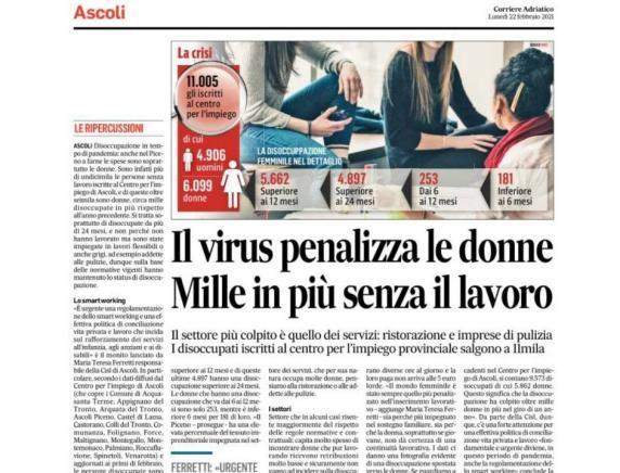 """""""Il virus penalizza le donne Mille in più senza il lavoro"""" Ferretti, Cisl Ascoli al Corriere Adriatico"""