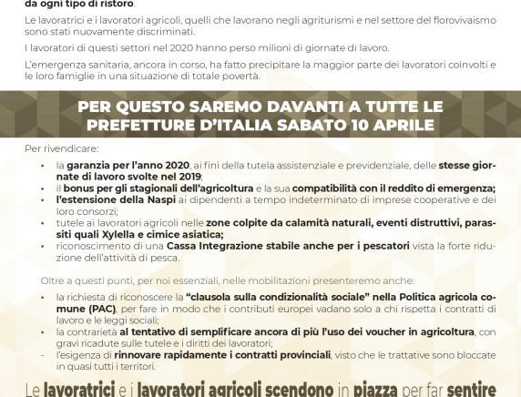 Decreto Sostegni 10 Aprile 2021  mobilitazione dei lavoratori agricoli : presidi ad Ancona e Ascoli Piceno
