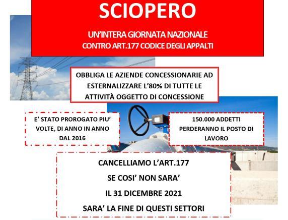 30 giugno sciopero nazionale  settore elettrico acqua gas contro l'art. 177 Codice degli appalti. Nelle Marche  presidio ad Ancona