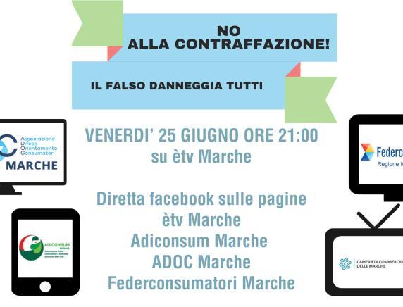 """""""No alla contraffazione! Il falso danneggia tutti"""": speciale su èTv Marche con la partecipazione di Adiconsum Marche"""