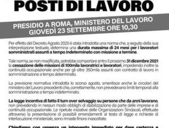 Somministrazione: a rischio 100mila posti di lavoro - 23 settembre manifestazione nazionale a Roma